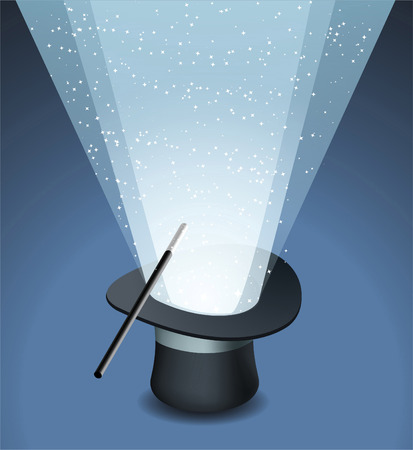 Magic Top Hat with Wand Trick and Stars Light, vector illustration cartoon.