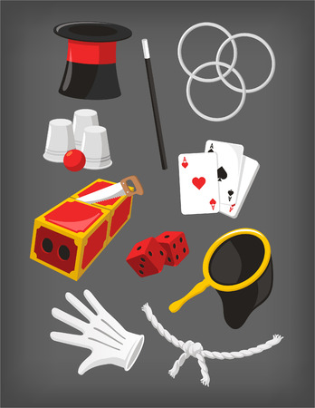 magic show: Magic Icon Set, with Magic Top Hat, Hoop, Magic Wand, Dices, White Gloves, Ace Cards, Magic Bag, Rope, Magic Box Trick, Glasses and Ball. Vector Illustration Cartoon.