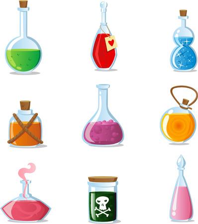 pocion: Pociones mágicas conjunto de tubos mágicos y contenedores de botellas Vectores