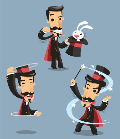 conjuring: Magician Magic Trick Performance, with rabbit, magic trick, appearance. Vector illustration cartoon. Illustration