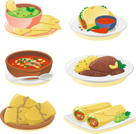 food illustration: Mexican cuisine dishes cartoon illustration set