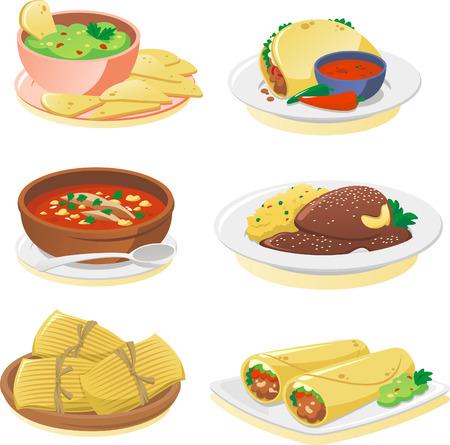 caricatura mexicana: Platos de cocina de dibujos animados conjunto mexicano