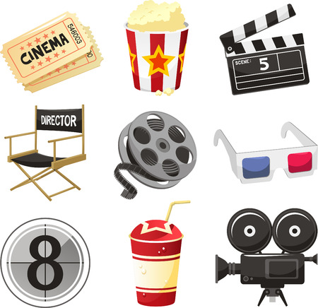 Cinema movie theater vector objects icon set vector illustration. Vector