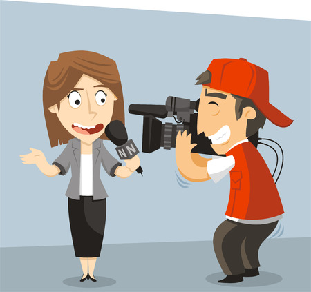 Journalist News Reporter Interview met journalist en geïnterviewde. Vector illustratie cartoon. Stock Illustratie