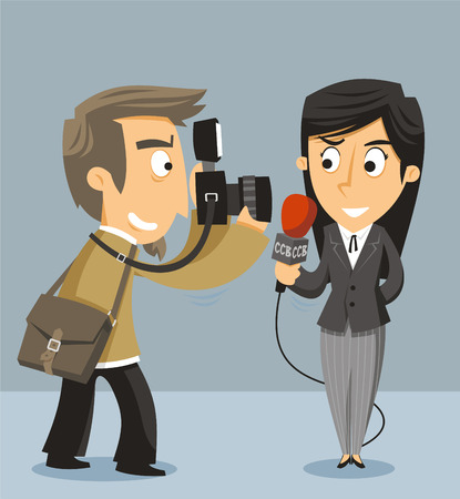 newscast: Journalist News Reporter With Camera, vector illustration cartoon. Illustration