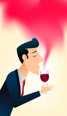 Gentleman enjoing the smell of a glass of good wine. 矢量图像