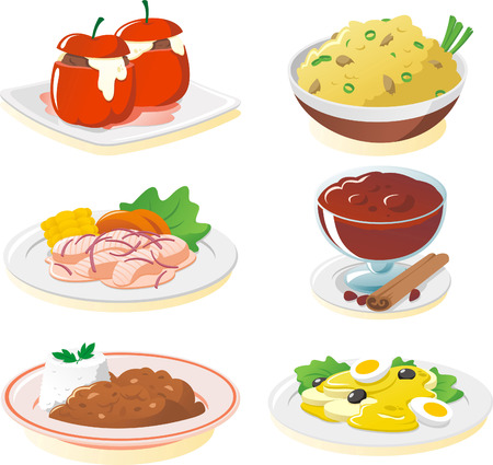 plate of food: Peruvian cuisine dishes cartoon illustration set