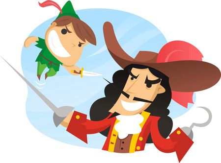 captain: Peter pan fighting captain hook.