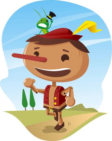Pinocchio houten jongen. Stock Illustratie