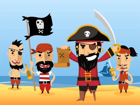sombrero pirata: Caracteres Pirata con la espada bandera parche en el ojo cráneo ilustración vectorial.