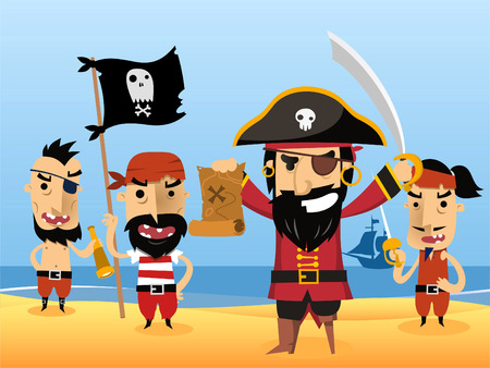 pirate crew: Pirate Characters with flag sword eye patch skull vector illustration. Illustration