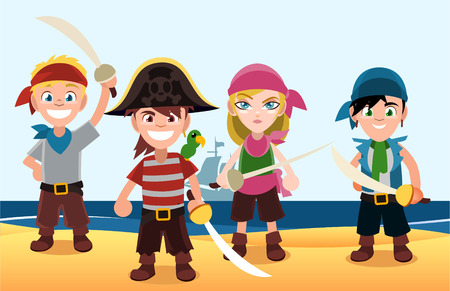 pirate crew: Four pirate Kids with swords and pirate shawls on the beach. With sand, water, moon vector illustration.
