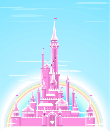 magical fairy: Fairy-tale Pink Sparkly Palace Castle Fortress with Rainbow and flag vector illustration.