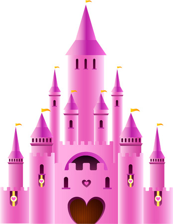 dollhouse: Fairy-tale Pink Sparkly Palace Castle Fortress with Rainbow and flag vector illustration.