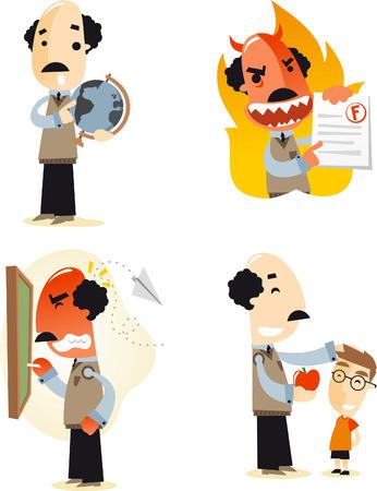 angry teacher: School teacher cartoon illustrations Illustration
