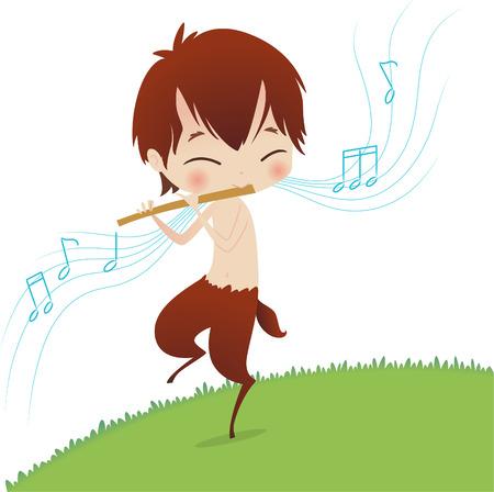 william shakespeare: dancing fairy Puck vector illustration Illustration
