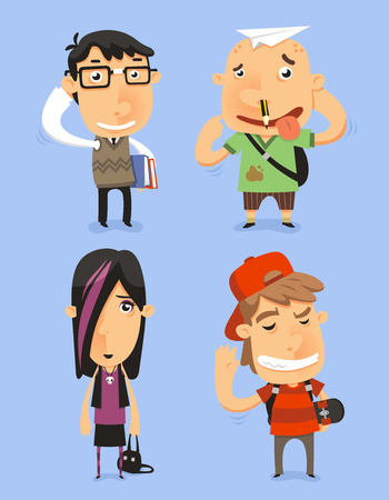 bag cartoon: School Teen Adolescents Characters vector illustration. With nerd kid, dumb kid, emo kid, cool kid. Vector illustration.