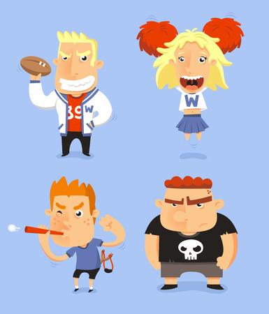 adolescent: School Teen Adolescents Characters vector illustration, with jocks, cheerio, nerd and bully vector illustration. Illustration