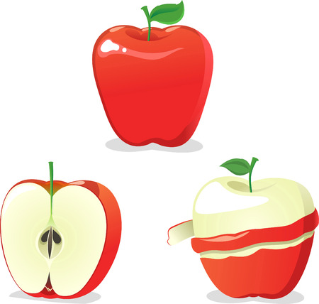 Apple vector illustration in various stages of peeling.
