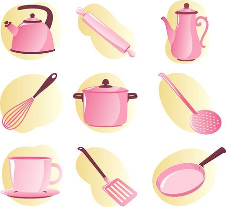 kleine meisjes: Keukengerei en apparatuur vector cartoon voor kleine meisjes. Stock Illustratie