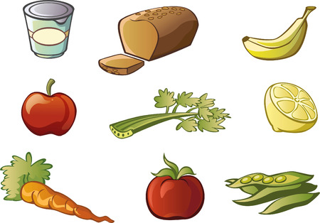 processed grains: Healthy food illustration cartoon collection Illustration