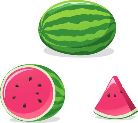 Watermeloen vector cartoon illustratie set Stockfoto - 33788033