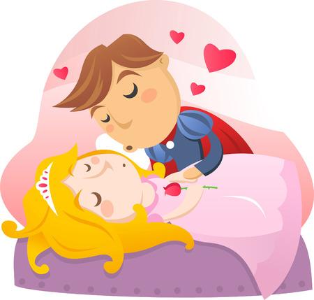 mujer acostada en cama: Belleza durmiente con su pr�ncipe a punto de besarse.