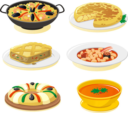 spanish food: spanish dishes vector icon set.
