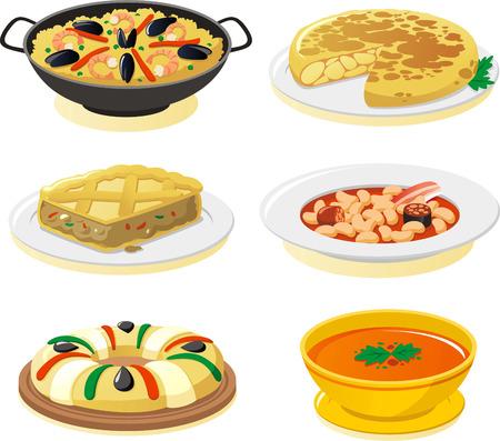spanish dishes vector icon set.