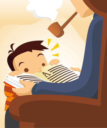 Old grandpa telling story to his grandson who can´t read yet. Vector illustration cartoon. Vector