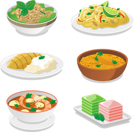 fried noodles: Thai food dishes vector cartoon illustrations