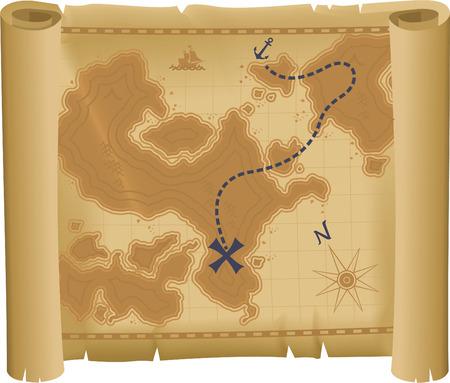 Treasure Map vector illustration.