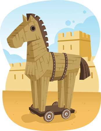 historic world event: Trojan Wooden Horse Ancient Greece Animal Troy War, vector illustration cartoon.