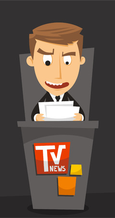 News Anchor Journalist TV Anchorman, vector illustration cartoon.