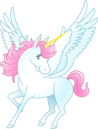 Unicorn Pegasus with opened wings and yellow horn, pink hair and tail vector illustration. Illustration