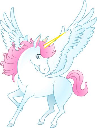 pegaso: Unicornio de Pegaso con las alas abiertas y cuerno de color amarillo, el pelo rosa y la ilustraci�n vectorial de la cola. Vectores