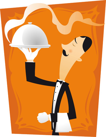 french culture: French waiter character illustration