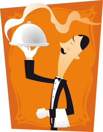 character illustration: French waiter character illustration