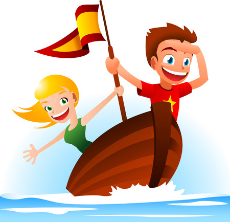 looking away: A boy and a girl sailing away, looking for adventure. Illustration