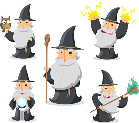Magische tovenaar in actie met uil en kristallen bol vector illustratie.