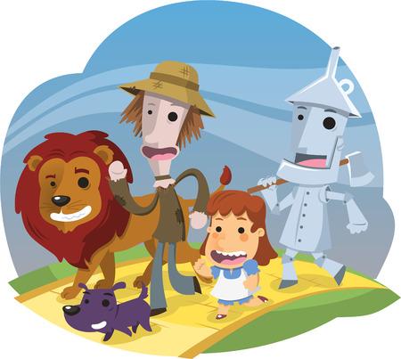 Czarnoksiężnik z krainy Oz, ilustracji wektorowych kreskówki.