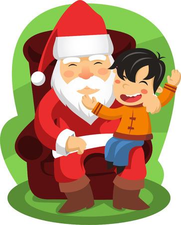 hombres maduros: Santa con un ni�o en sus rodillas que le dec�an lo que �l quiere regalos