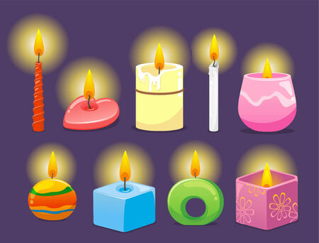 advent candles: Candle cartoon illustration collection