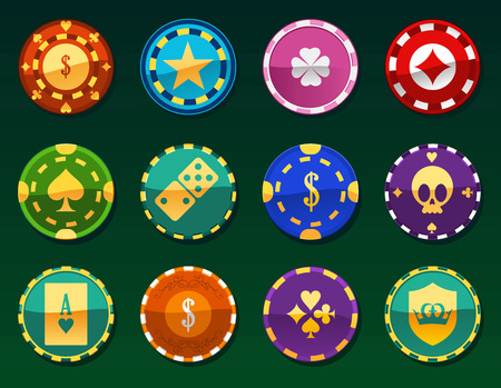 token: Casino Chips Clay Token Currency Play Money, with 12 different gaming chips. Vector illustration. Illustration