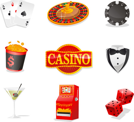 Casino design elements, with Cards, Roulette, poker Chips, Coins, Casino Sign, Suit, Drink, Slot Machine and Dices.