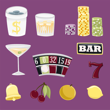 Gambling icon set for casino or entertainment projects Vector