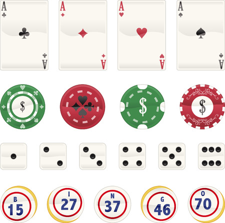 gambling chip: Casino Icon set, with Aces Cards, Poker chips, dices and chips. Vector illustration cartoon.