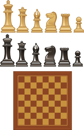 Set of vector Chess pieces and board vector icon illustrations. Ilustração