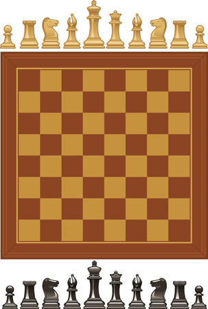 Set of vector Chess pieces and board. Vector