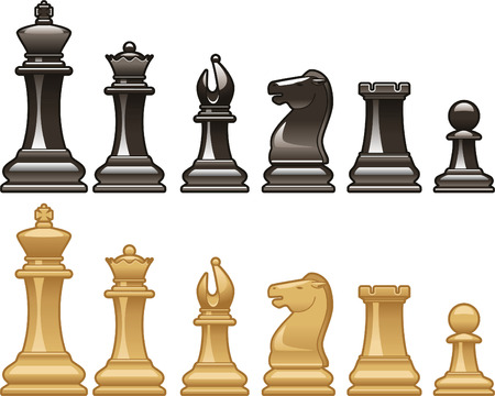 Chess pieces in black and white vector illustrations Stock Illustratie
